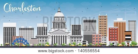 Charleston Skyline with Gray Buildings and Blue Sky. West Virginia. Vector Illustration. Business Travel and Tourism Concept with Modern Buildings. Image for Presentation Banner Placard and Web Site.