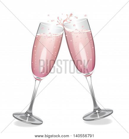 Vector clinking champagne flutes with pink champagne.