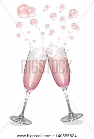 Pink champagne in clinking flutes with an explosion of bubbles. vector
