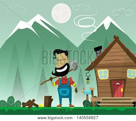 Hipster cartoon woodcutter with beard and mustache and ax on forest background with wooden hut . Woodcutter forest and strong. Lumberjack, woodworker vector illustration.