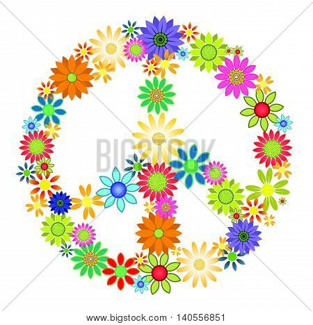 Colourful flowers arranged into the shape of a peace symbol.