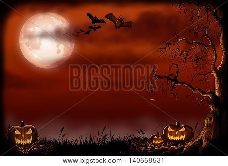 Halloween background with pumpkins, bats, a creepy tree under a red moonlit sky.