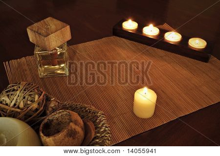Spa Detail: Ornaments With Burning Candle Light And Fragrance