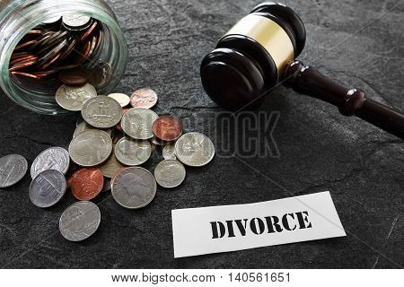 Coins and legal gavel with paper Divorce message