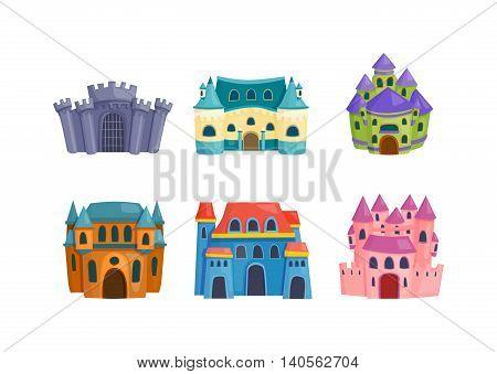 Cartoon fairy tale castle tower icon. Cute cartoon castle architecture. Vector illustration fantasy house fairytale medieval castle. Princess cartoon castle cartoon stronghold design fable isolated.