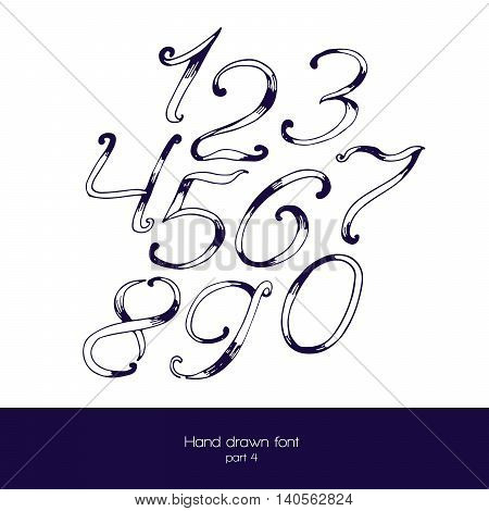 Handdrawn vector font in navy blue and white isolated on white background. Numbers sequence from 0 to 9. Hand drawn with brush painted digits good for education and count.
