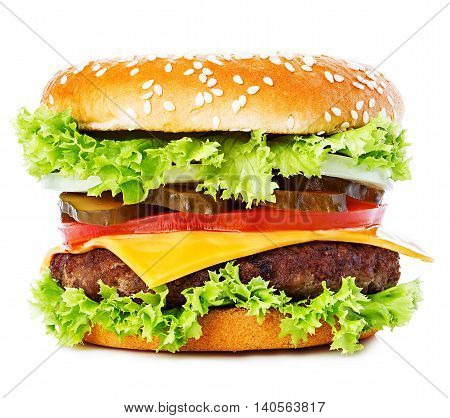 Big Burger, Hamburger, Cheeseburger Close-up Isolated On A White Background.