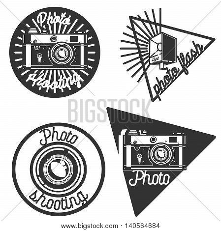 Set of Vintage photographer emblems. Vector illustration, EPS 10