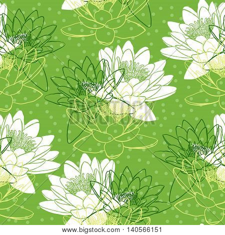 Seamless pattern with water lilies. Vector illustration