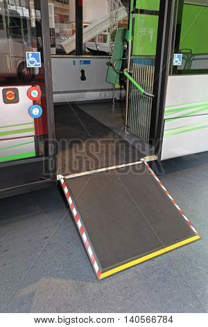 Retractable Ramp for Wheelchair at City Bus