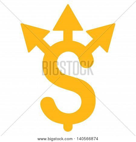 Expences icon. Vector style is flat iconic symbol with rounded angles, yellow color, white background.