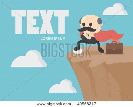 Business concept cartoon illustration confidence on precipice