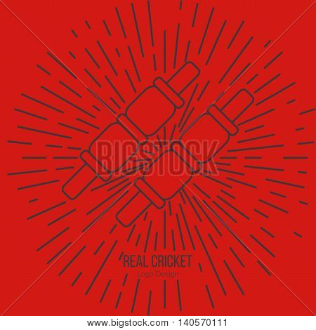 Cricket bails with vintage sun rays. Single logo in modern thin line style isolated on red background. Outline cricket game symbol. Simple mono linear pictogram. Stroke vector logotype template.
