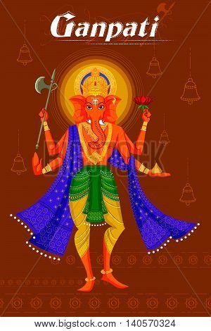 Indian God Ganpati in blessing posture. Vector illustration