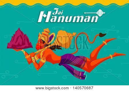 Indian God Hanuman with mountain. Vector illustration
