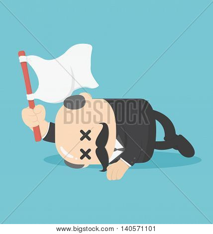 Concept businessman lying down on the floor and surrender