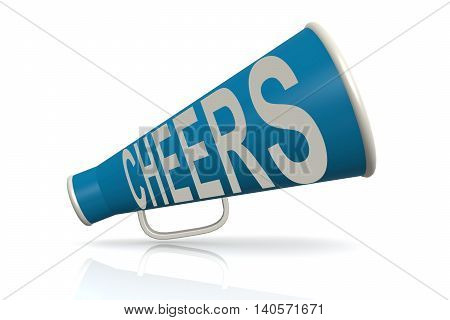 Blue Megaphone With Cheer Word