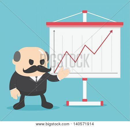 Business concept cartoon illustration Business show graph growing up.