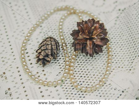 White perls with  autumnal brown cones on the lace white tablecloth.Vintage toned background.Selective Focus