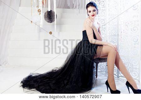 Beauty Brunette model woman holiday make up