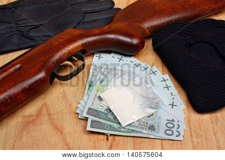 Bags Of Drugs,  Euro Money And Gun