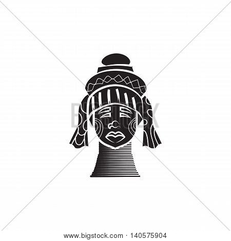 Karen long neck woman with traditional brass coils icon in simple style on a white background