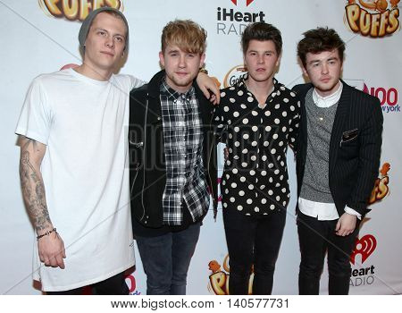 NEW YORK-DEC 12: (L-R) Lewi Morgan, Danny Wilkin, Charley Bagnall and Jake Roche of Rixton attend Z100's Jingle Ball 2014 at Madison Square Garden on December 12, 2014 in New York City.