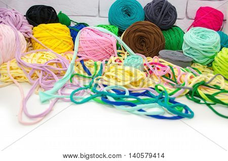 Background Of Multi-colored Balls Of Yarn And Thread