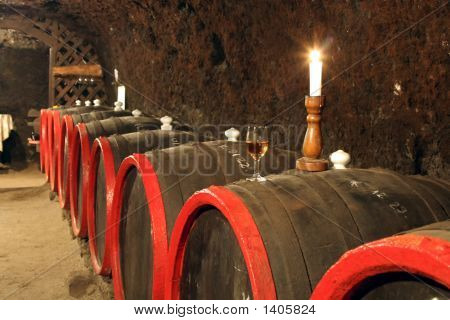 Barrels For Wine With. Wine And Candlelight