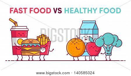 Illustrations Funny Fast Food Vs Funny Healthy Food