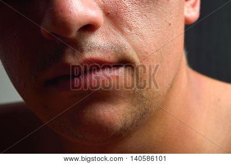 Close Up Shot Of A Part Of Man's Face. Sensual Lips. Beauty