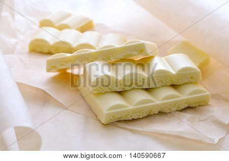 White airy chocolate bars broken and put in a hip