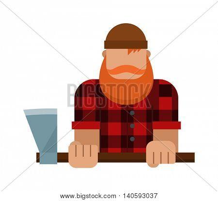 Lumberjack, woodman, woodcutter character vector.