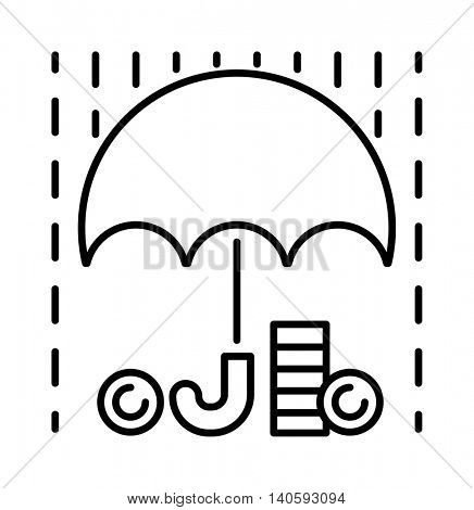 Money rain and umbrella sign icon vector