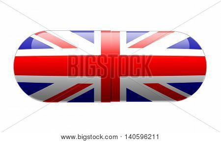 Pill wrapped in a Union Jack Flag illustration.
