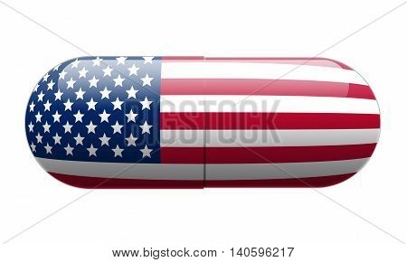 Pill wrapped in a United States Flag illustration.