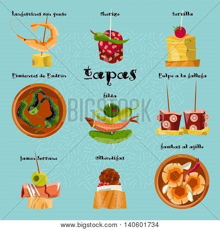 Traditional spanish snack. Selection of tapas. Vector illustration