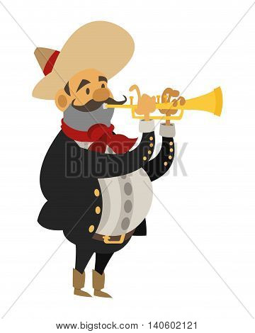flat design mariachi musician icon vector illustration