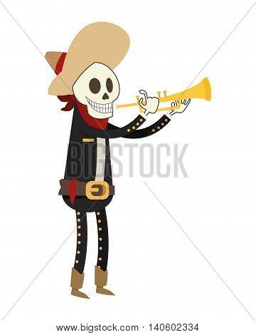 flat design skeleton mariachi icon vector illustration