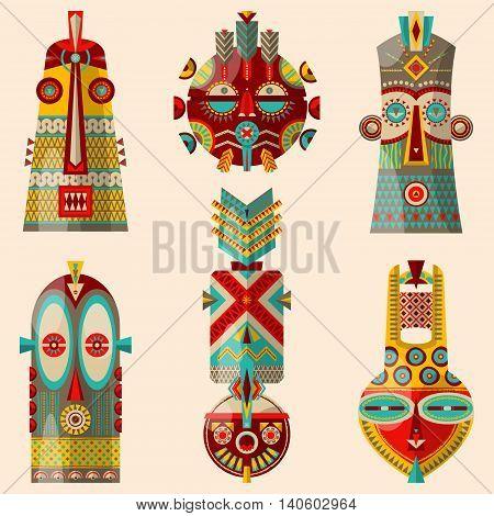 6 multi-colored african masks of diferent shapes. Vector illustration