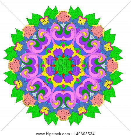 Ornamental round organic pattern circle colorful mandala with many details on white background. Оrnament can be used for wallpaper pattern fills background surface textures round ornamental natural doily pattern mandala.