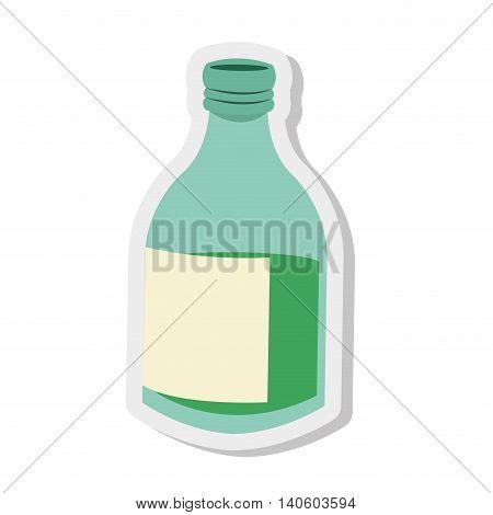 flat design glass bottle icon vector illustration