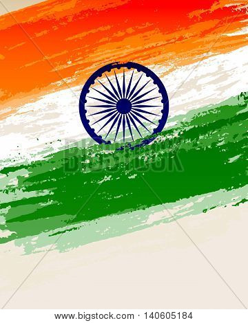 illustration of grungy Indian Flag for Indian Independence Day