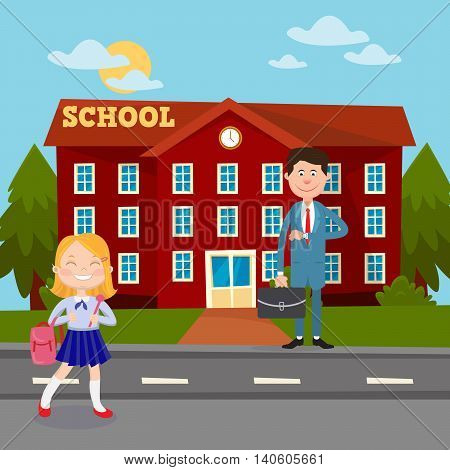 Back to School Education Concept with School Building Teacher and Schoolgirl. Vector illustration