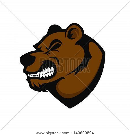 Bear head mascot. Design element for logo label emblem sign brand mark. Vector illustration.