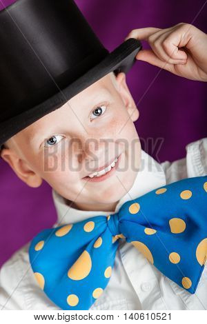 Handsome Dapper Little Boy In A Top Hat