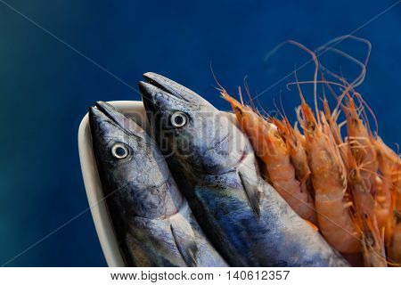 Bonito fish and shrimps infront of pool