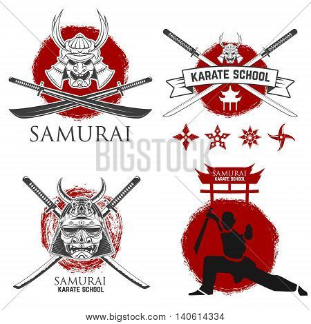Set of samurai karate school labels. Ninja shurikens. Design elements for logo label emblem sign badge .Vector illustration.