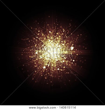 Gold glitter particles background effect Star dust sparks in explosion on black background. Vector Illustration