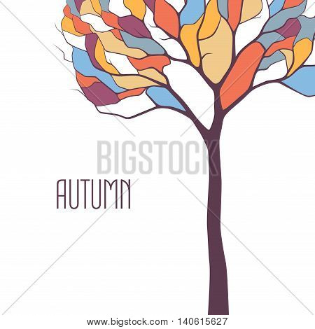 Autumn colorful tree on white background vector autumn illustration stylized mosaics or stained glass